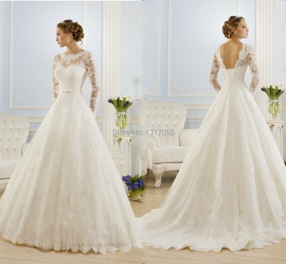 Plus Size Long Sleeve Wedding Gowns: Bandage Organza Vintage Modest Wedding Dresses With