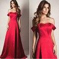 2017 Barato Largo Prom Vestidos Nueva Llegada A-line Rojo Apagado el Partido Del Hombro Barrer de Tren Satén Simple de Noche Formal dress