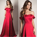 2017 Cheap Long Prom Dresses New Arrival A-line Red Off the Shoulder Party Gowns Sweep Train Simple Satin Formal Evening Dress