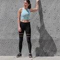 2016 de La Moda de Malla Patchwork Sexy Leggings Caliente Pantalones Deportivos Transpirable Negro Leggins Mujer Deportiva de Gimnasio Delgado 95Z