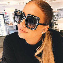 Vintage Woman Sunglasses Crystal Pink Sunglasses For Women Big Frame Sqaure Glasses Brand Designer Eyewear gafas de sol mujer(China)