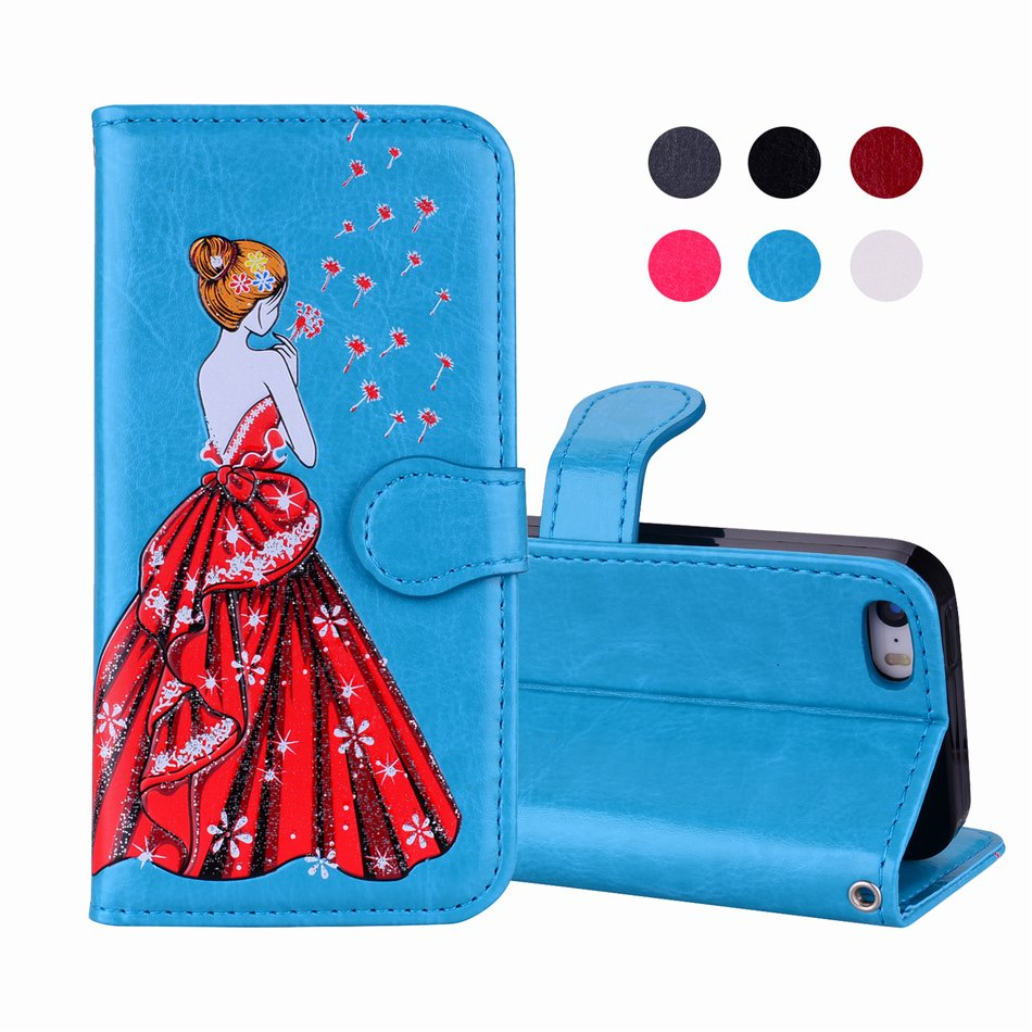 DEEVOLPO Simulation Leather Phone Bags Flash Powder For iPhone X 7 8 6S 6 Plus 5 5S SE Fundas Dress Girl Dandelion Glitter DP11Z