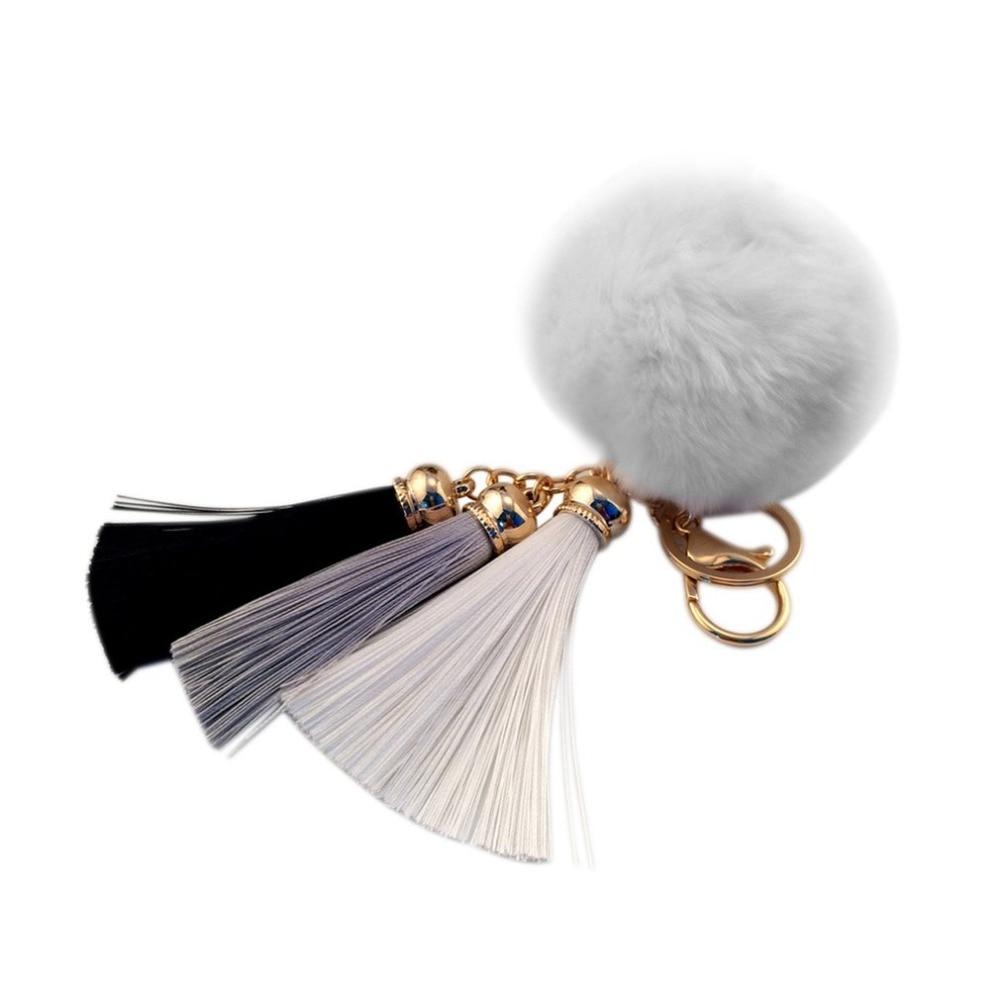 Novelty Lovely RabbitS Hair Ball Shape Keychain Pendant Key Ring With Tassel HandBag Pendant Car Keyring Perfect Decoration
