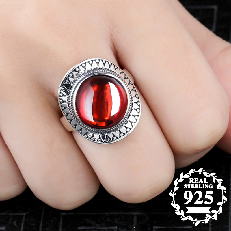 10*10mm NOT FAKE S925 Sterling Silver Australia Ruby Rings Exaggerated Rings upper class Gemstone  Retro Chalcedony10*10mm NOT FAKE S925 Sterling Silver Australia Ruby Rings Exaggerated Rings upper class Gemstone  Retro Chalcedony