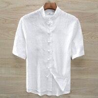 2018 hombres del verano de pie cuello de la camisa de lino de manga corta viento chino Tang placa hebilla camisa blanca hombres lino más tamaño camisa