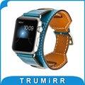 Pulseira de couro genuíno cuff bracelet para iwatch apple watch/esporte/Edição 38mm 42mm Substituição Alça de Pulso Cinto com adaptadores