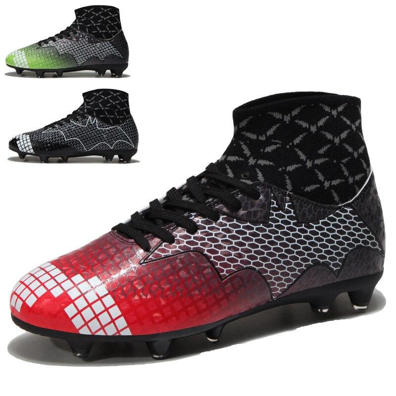 Hommes chaussures de Football sport crampons de Football bottes longues pointes TF pointes cheville haut baskets doux intérieur Futsal chaussures de Football hommes