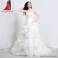 New White Plus Size Wedding Dresses 2017 Organza Ruffles Sweetheart Wedding Party Dresses Vestido De Noiva