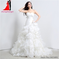 New White Plus Size Wedding Dresses 2017 Organza Ruffles Sweetheart Wedding Party Dresses Vestido De Noiva