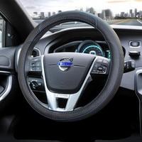38cm Car Styling Genuine Leather Steering Wheel Cover For Volvo S40 S60 S80 V70 V90 XC60