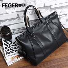 Casual Tote Bag Men Shoulder Bag Laptop Briefcase Mens PU Leather handbag Brand business hand bag Male Handbags Bags FEGER