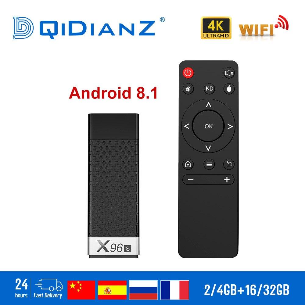 X96S boîtier de smart tv/Bâton Android 8.1 2 GB 16 GB Amlogic S905Y2 Quad Core 2.4G 5 GHz Double Wifi BT4.2 1080 P 4 K Netflix dongle tv X96
