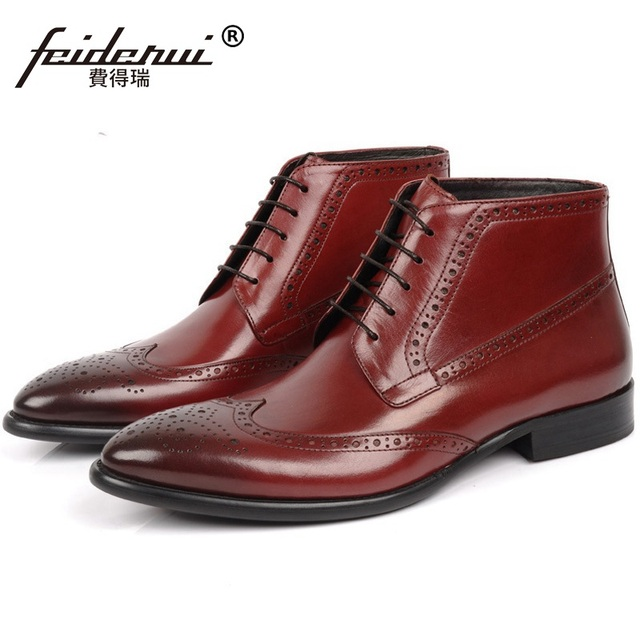 7b77a317520e1 Vintage Man British Brogue Oxford Shoes British Genuine Leather Luxury  Brand Men's Carved Martin Motorcycle Ankle Boots HD90
