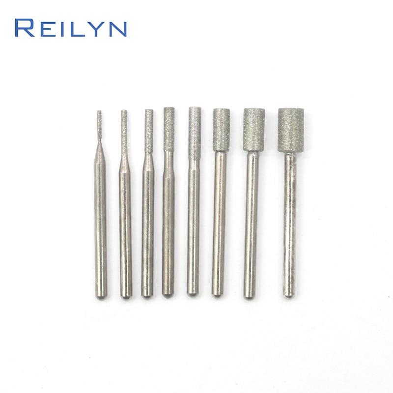 Reilyn Fine Cylindrical Grinding Head 8 Pcs/Set 120# Diamond Jade Abrasive Polishing Drilling Grinding Head Eeth Grinding Point