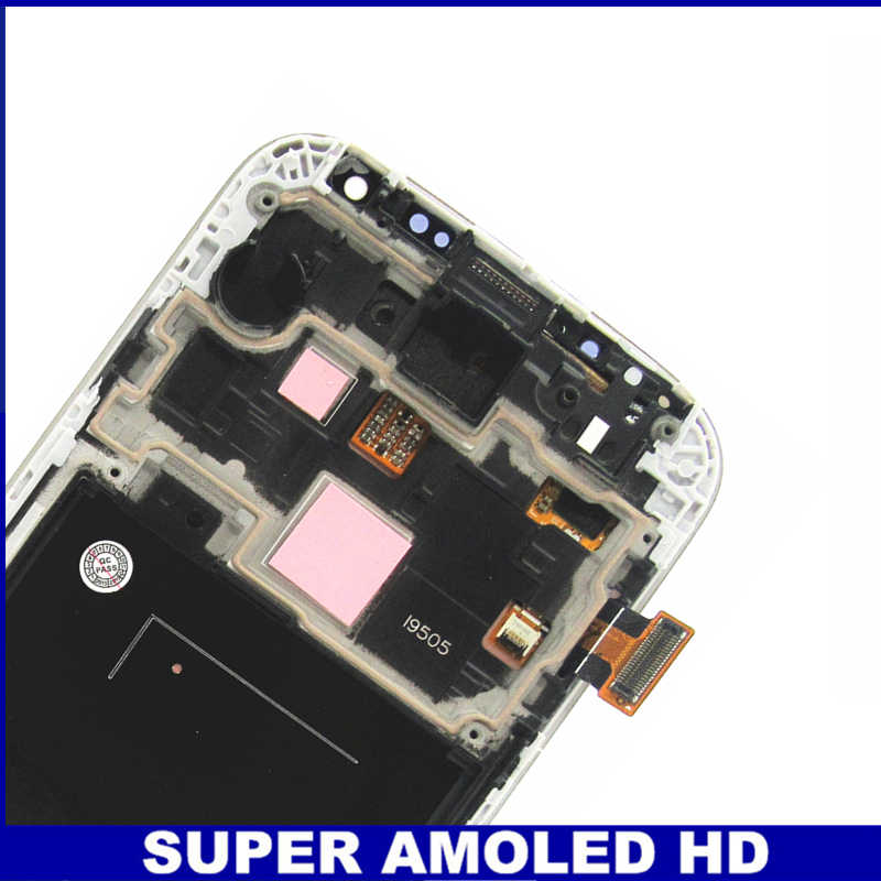 مع الإطار مدي شاشات Lcd لسامسونج غالاكسي SIV S4 i9505 AMOLED شاشة هاتف LCD اللمس محول الأرقام إحلال تركيبات الشاشة