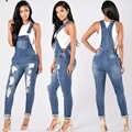 Sexy femmes combinaison Denim salopette 2018 printemps automne noir sangle déchiré poches pleine longueur Denim Jeans combinaison tenue décontracté
