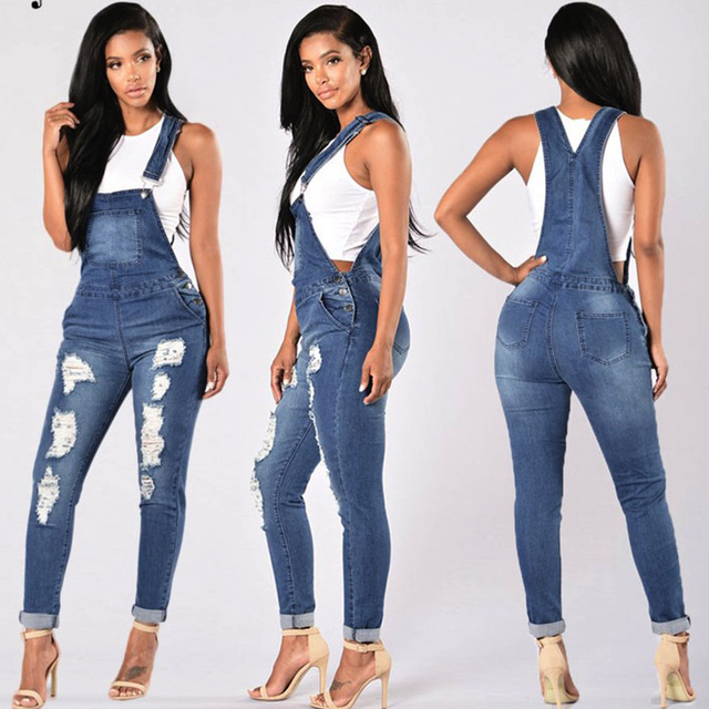 40fd58365306 sexy Women Jumpsuit Denim Overalls 2018 Spring Autumn Black Strap Ripped  Pockets Full Length Denim Jeans Jumpsuit casual wear