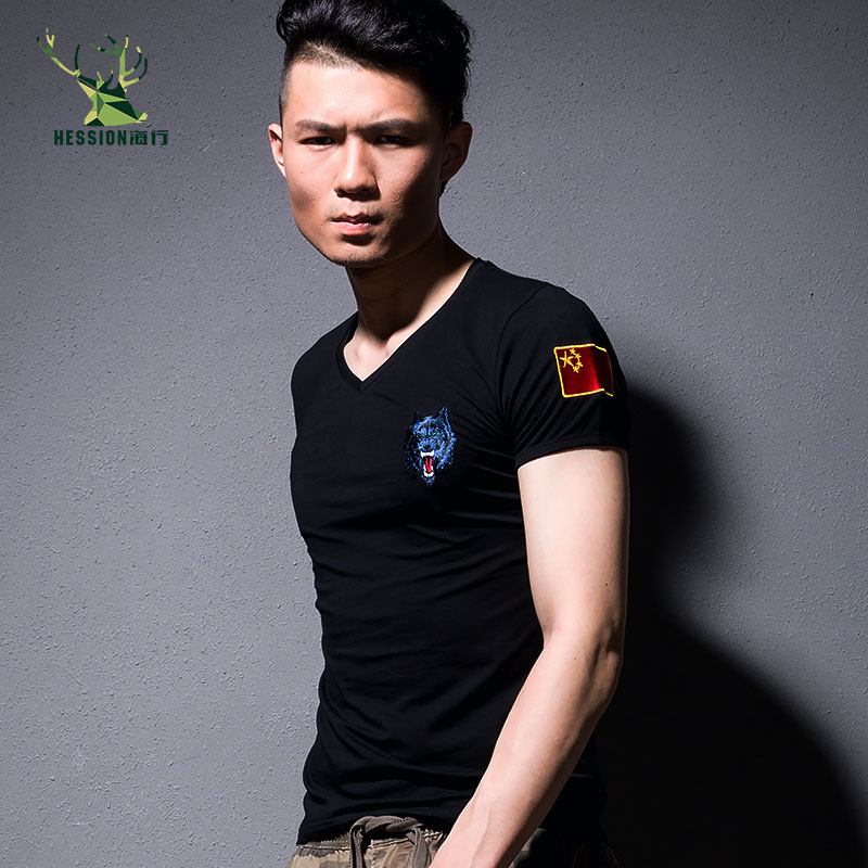 ReFire Gear Summer Men Soldiers Combat Army T Shirt Breathable Quick Dry Tactical T-Shirt V Neck Military Short Sleeve T Shirt