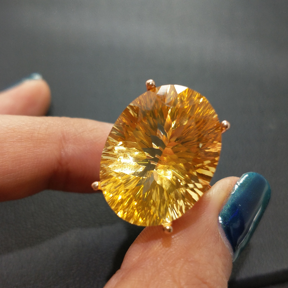FLZB Hot sale luxury ring 23 9ct high quality 100 natural citrine ring real 925 Solid