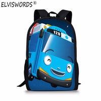 ELVISWORDS Korea TAYO BUS CAR Children Bags Cartoon Backpacks School Bags For Teenagers Girl Boy Mochilas