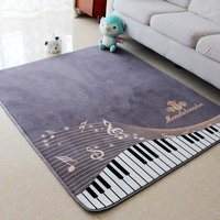 130X150CM Piano Notes Carpets For Living Room Home Area Rugs For Bedroom Shelf Drum Floor Mat Cartoon Carpet Kids Room Anti Slip