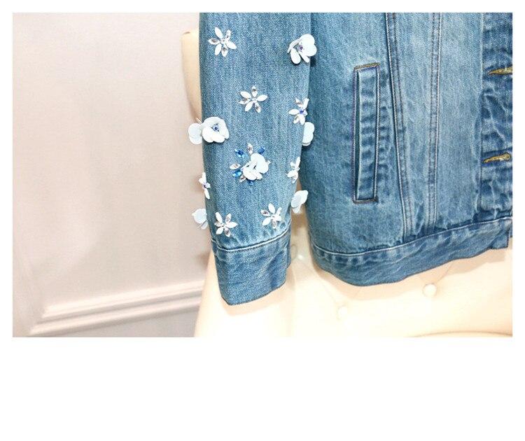 Femmes Luxe Gamme Denim Veste Kenvy Marque De Haut Manteaux Mince Mode Courte Diamant Bleu qwAat