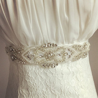 Hot Sale Elegant Rhinestone Vintage Crystal Wedding Party Bride Bridesmaid Belt Dress Flower Sash Accessories