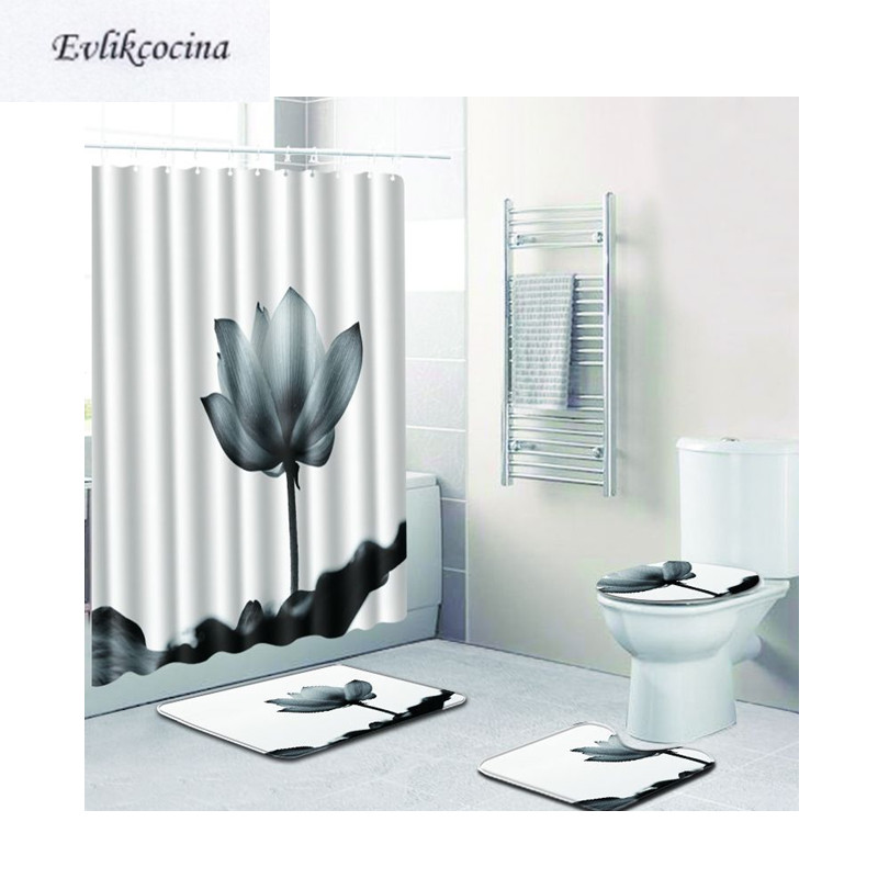 Livraison gratuite 4 pièces gris Lotus Banyo Paspas Tapis De Salle De Bain Toilette Tapis De Bain ensemble antidérapant Tapis Salle De Bain Alfombra Bano