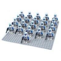 21pcs Blue Clone Trooper Captail Rex Darth Vader Darth Maul Star Wars Building Block Figure Brick