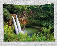Landscape Tapestry Majestic Twin Wailua Waterfalls Kauai Hawai Greenery Forest Grass Nature Scenic View, Wall Hanging