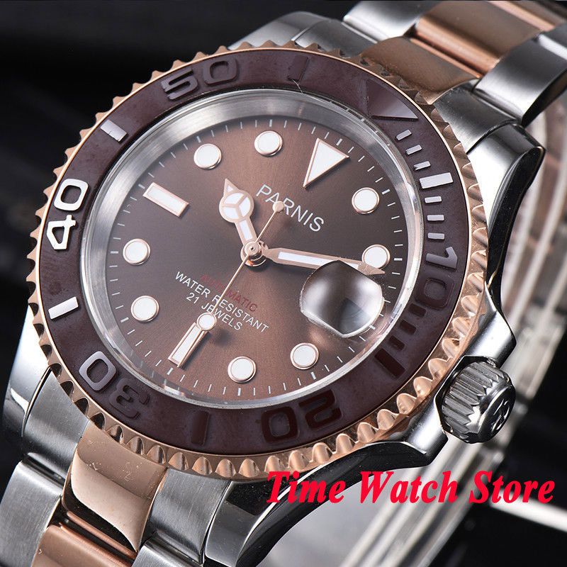 41mm Parnis mens watch Rose gold plated case sapphire glass brown dial luminous ceramic bezel MIYOTA Automatic movement 98141mm Parnis mens watch Rose gold plated case sapphire glass brown dial luminous ceramic bezel MIYOTA Automatic movement 981