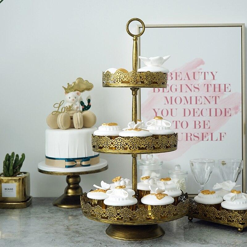 Us 5272 5 Offvintage Dessert Tray Spitze Goldene Kuchen Stehen Kuchen Platten Tisch Hochzeit Dekoration In Ablagen Aus Heim Und Garten Bei