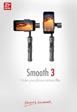 New! Official Zhiyun Smooth 3 3 Axis Brushless Handheld 360 motors degree moving gimbal for Smartphone and GoPro3/4/5