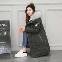 높은 품질의 고급스러운 여우 모피 눈 시간 완장 다운 재킷 겨울 두꺼워 다운 코트 파카 겉옷 여성 YR33