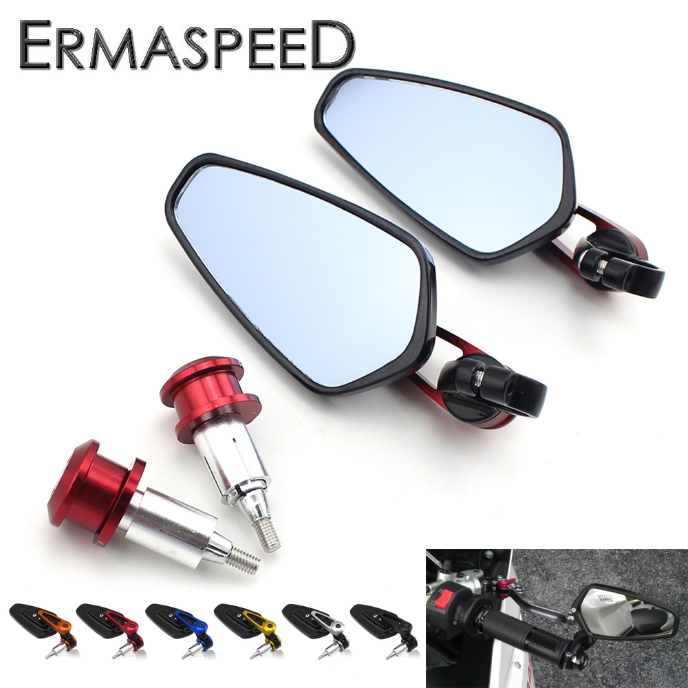 цена на 7/8 22mm Motorcycle Rearview Mirrors Handlebar End Mirror Blue Glass Aluminum for Honda Yamaha Kawasaki Suzuki Ducati Aprilia
