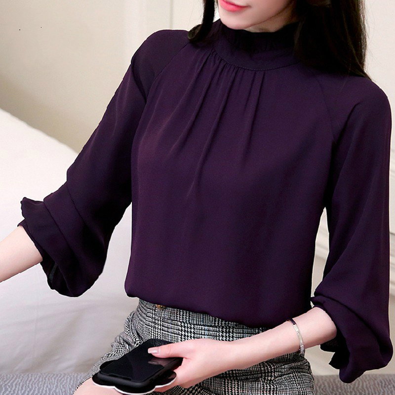 2018 Women Blusas Feminina Elegant Chiffon Blouses Spring Casual Lantern Sleeve Female Shirt Fashion Purple Tops Ladies 93A 30