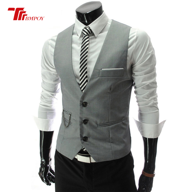 6b58498c537 Blazer Vest Mens Fashion Suit Vest Brand Male Solid Colors Single-Breasted  Fitness Mens Vest black white red grey