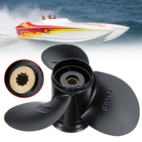 58100 93743 019 9 1/4 x 11 Aluminum Boat Outboard Propeller for Suzuki 9.9 15HP 3 Blades 10 Spline Tooth Aluminium Alloy Black