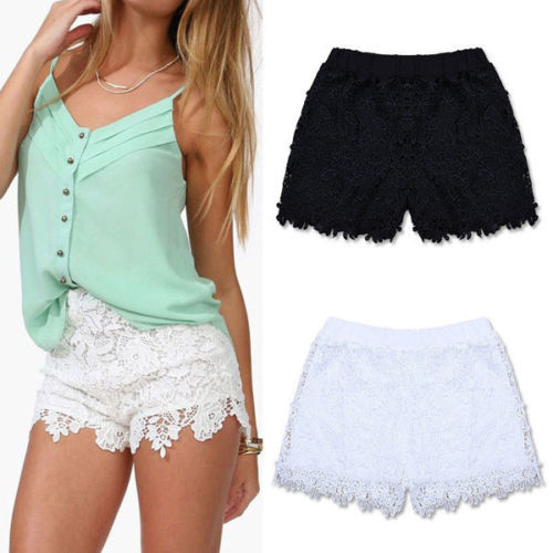 New Women Girl Korean Sweet Cute Crochet Tiered Lace   Shorts   Skorts   Short   Pants