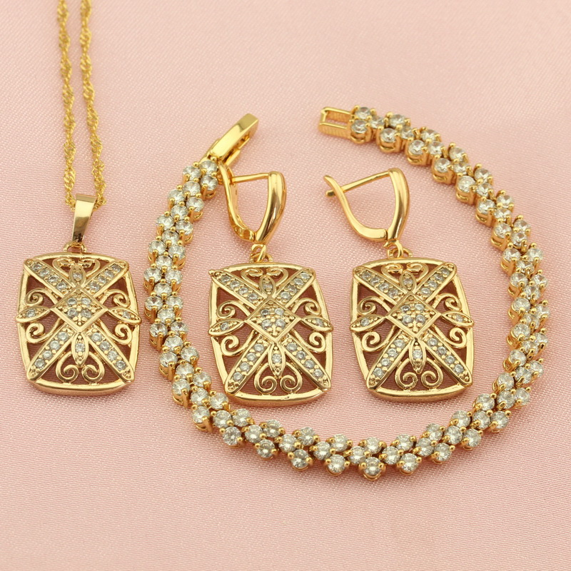 Women's Golden Square Jewelry Sets For Wedding Classic White Crystal Drop Earrings Bracelet Pendant Necklace Free Jewellry Box