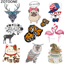 ZOTOONE Cat Owl Iron on Cute Patches Stripe for Clothes Sticker DIY Thermal Heat Transfer Kids T-shirt Printed Appliqued D