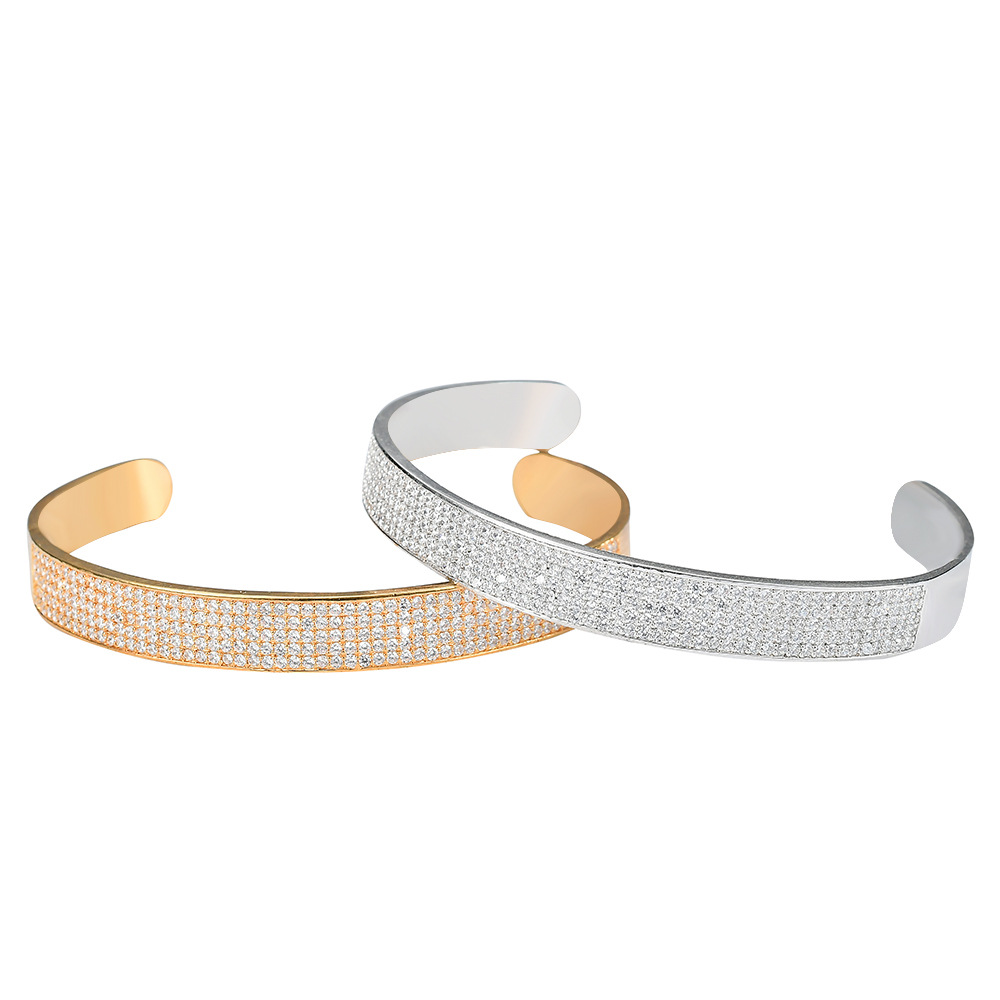 Intelligent Micro Paved Aaa Cubic Zirconia Open Cuff Bangle Cz Zircon Bracelet Men Hip Hop Bling Iced Out Rapper Jewelry Gold Silver