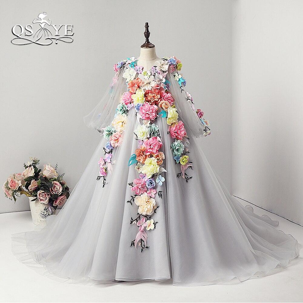 2018 New Arrival Princess Flower Girl Dress for Wedding Sheer V Neck Long Sleeve Handmade Flowers Girls Pagenat Dress Prom Gown