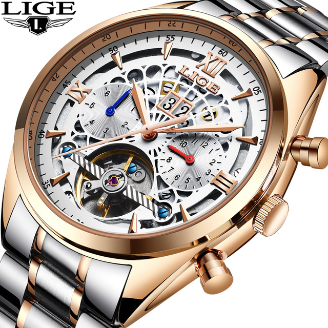 LIGE nouveau hommes montres Top marque de luxe hommes montre mécanique Tourbillon hommes mode affaires montre étanche Relogio Masculino