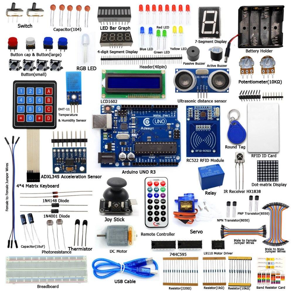 Adeept Neue RFID Starter Schiefen Kit Für Arduino UNO R3 Mit Handbuch Vom Wissen Verwendung RC522 13,56 Mhz Buch Diy Diykit
