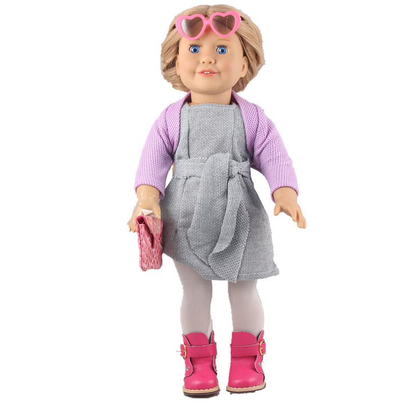 Doll Clothes Outfits for 18 American Girl Doll Heart Glasses +Purple Cappa+Grey Girdle Dress +Tight+Handbag +Red PU Boots