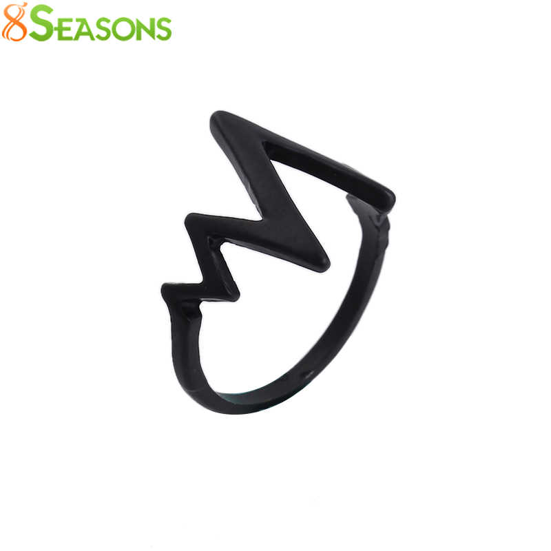 8SEASONS Heartbeat Figure Lovers' Lightning Finger Rings For Men Women Falling in Love Rings Gifts Black Color, 1 PC