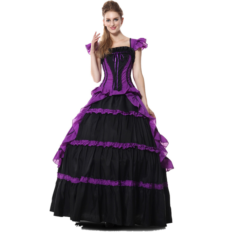 Purple Fantasias <font><b>Alice</b></font> <font><b>in</b></font> <font><b>Wonderland</b></font> <font><b>Costume</b></font> <font><b>Sexy</b></font> Halloween Cosplay Cinderella Princess Dress Adults Exclusive Party Grown Dress image