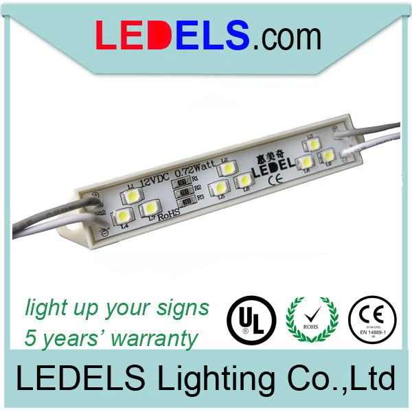 5 years warranty,0.72w everlight 3528 outdoor sign lights led module for signage lighting channel letter led module