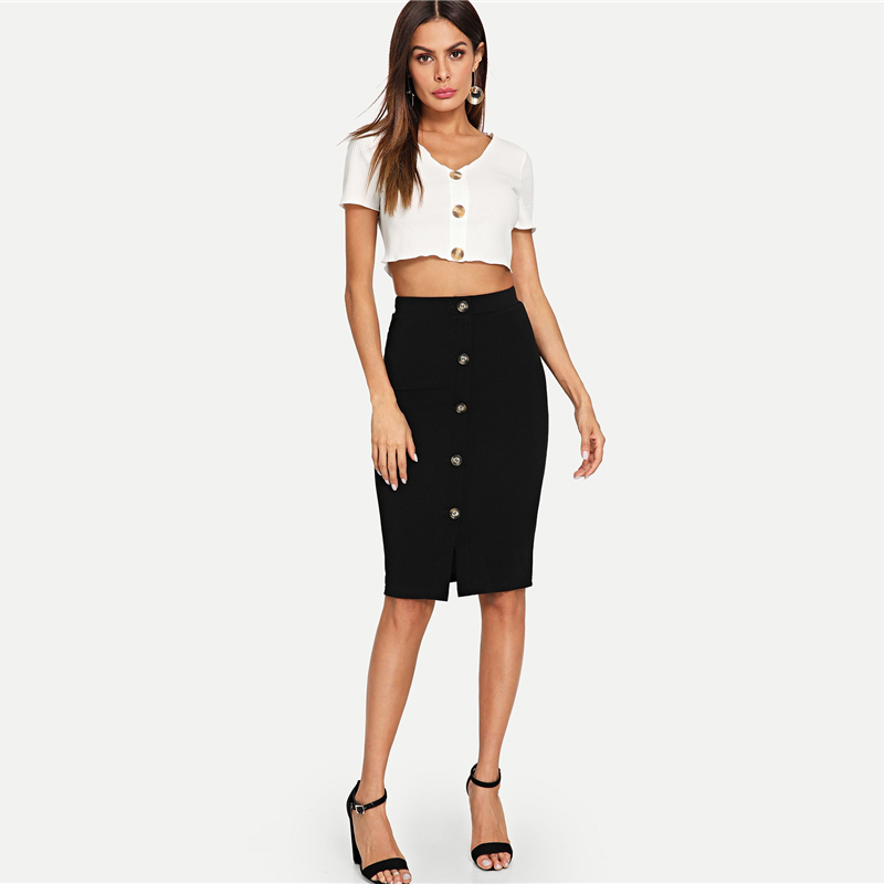 COLROVIE Black Solid Work Button Front Elegant Bodycon Style Pencil Skirt Vintage 2018 Autumn Women Skirts Classic Midi Skirts 7